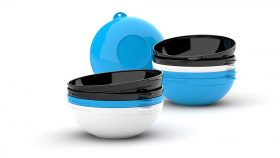 Clipcroc™ Bowl Set in Sky Blue and Ice White and Midnight Black by WandsPro